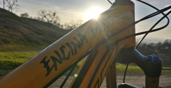 My fabulous yellow bike with a sunset behind