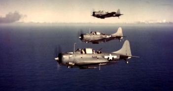 Douglas SBD Dauntless scout bombers  Fly in formation over the Pacific Ocean, October 1943.  Official U.S. Navy Photograph, now in the collections of the National Archives.