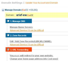 Domain settings   Manage Domain co.cc