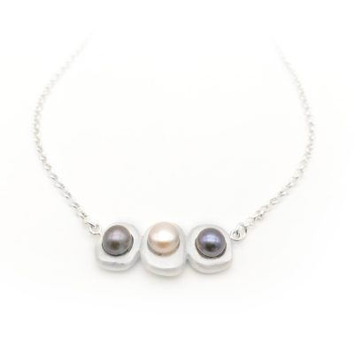Stepping Stone Horizontal Silver Pearl Necklace