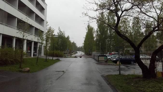 Kortepohja student village of Jyväskylä on a rainy day.
