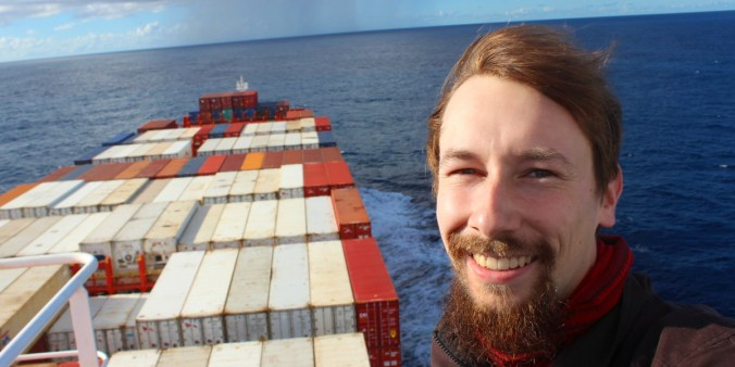 Arimo Koo on a container ship.