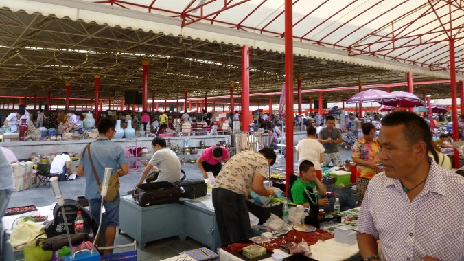 A crowded market in Beijing.