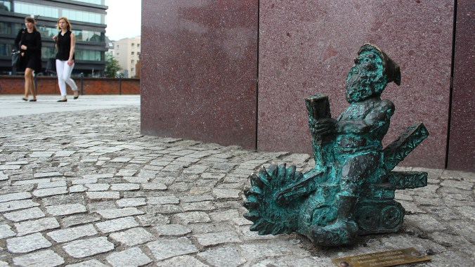 A miniature dwarf statue in Wrocław with a saw blade. One of the many sights I saw during my one week in Poland.