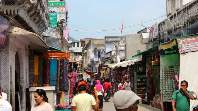 Crowd in Pushkar Main Bazaar.