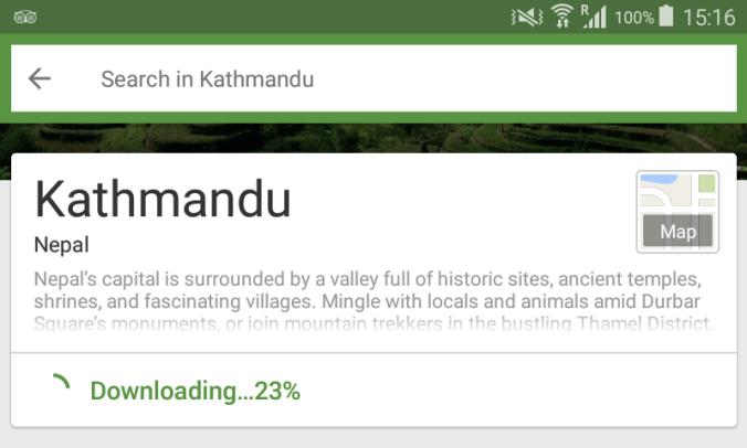 Android apps for travel. Downloading Kathmandu offline area for TripAdvisor application.