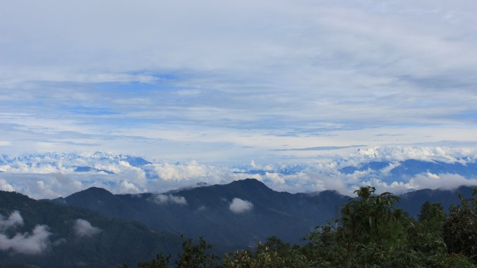 The Himalayas in the horizon as viewed from the view tower of Daman Mountain Resort.