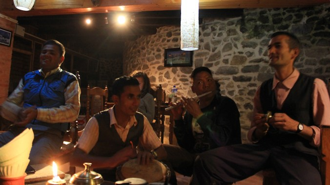 The staff of Hotel at the End of the Universe singing traditional Nepalese songs.