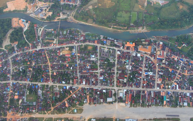Google Earth in real life. Hot air balloon view of Vang Vien, Laos directly from above.