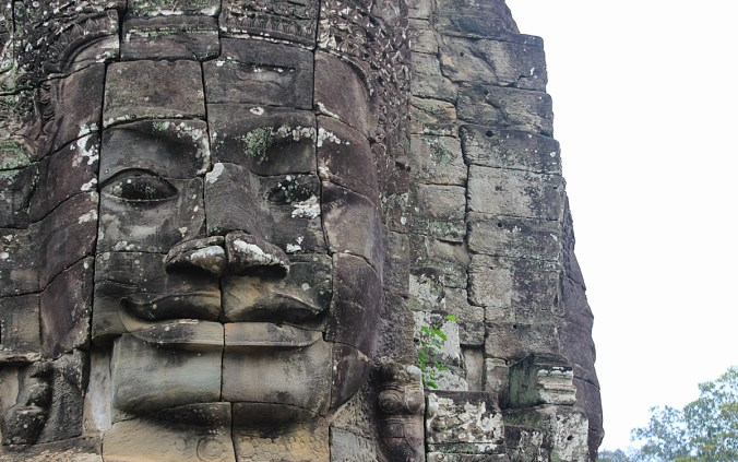 Stone face in Bayon, Angkor Tom.