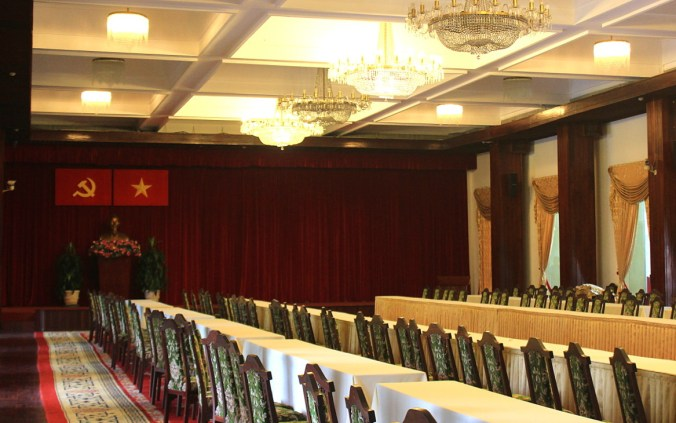 A meeting hall in the Reunification Palace of Saigon.