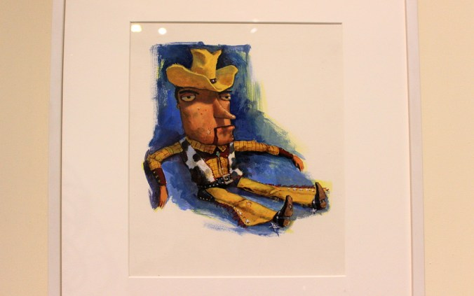 An early concept of Toy Story's Woody in the Pixar exhibition.