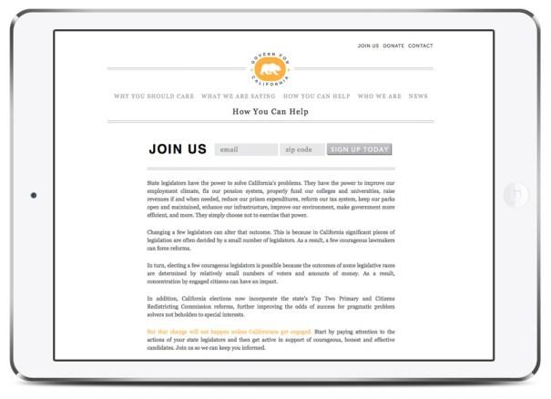Website and branding for California governance website