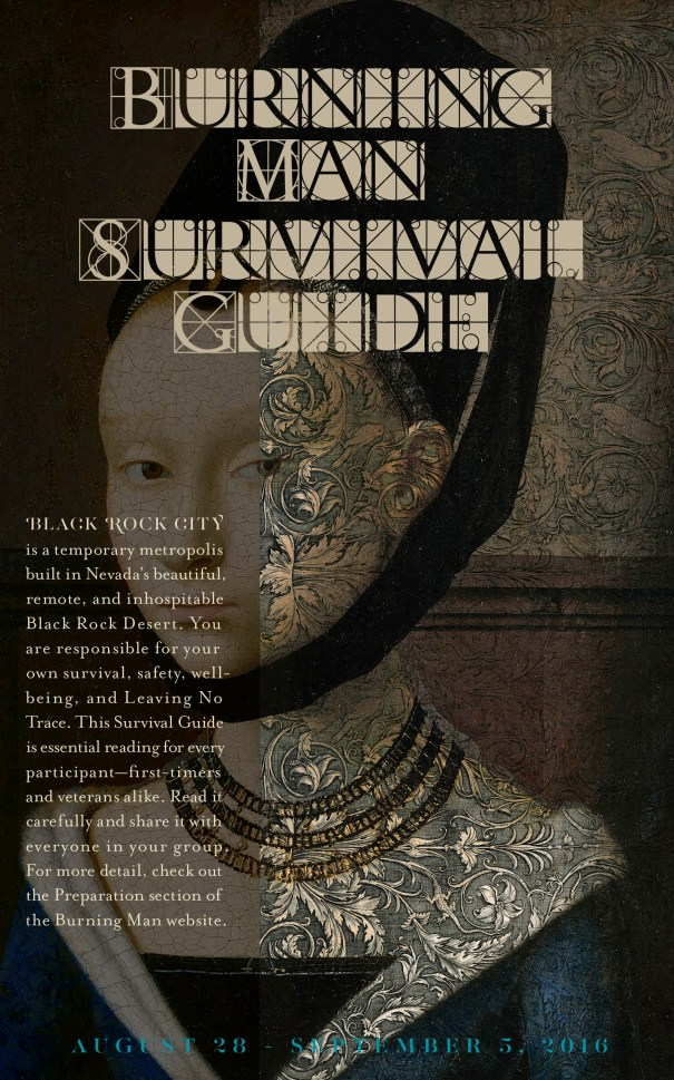 Burning Man Survival Guide periodical design, print design