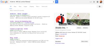 Résultats de votre inscription dans Google Search