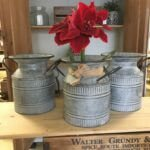 Vintage style galvanised churns