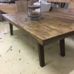 vintage coffee table rustic thick top original old