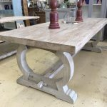 Vintage style dining table, with a chunky thick reclaimed top