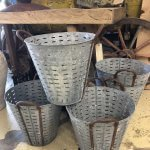 Galvanised Olive Buckets vintage old metal buckets would originally have been used by olive pickers to hold the olives