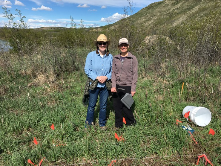 Shari Peyerl (Left) and Monica Webster (Right) on the first day of the Glenbow Ranch Project (15/05/17)