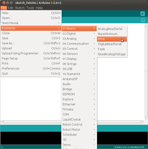 """Charger l'exemple """"blink"""" intégré à l'IDE arduino"""