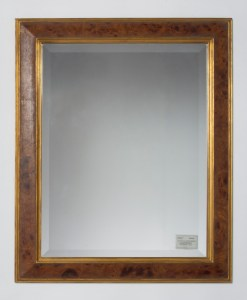 Gold and burl wood mirror frame