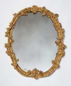 Gold oval leaf mirror