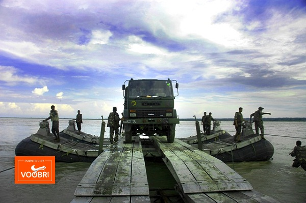 Solders of 6th Engineering Regiment demonstrating how the move a vehicle in the river with the help of floating bridge during the training session. PHOTO-MANAS PARAN