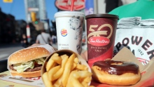Coffee, donuts, hamburgers and fries.