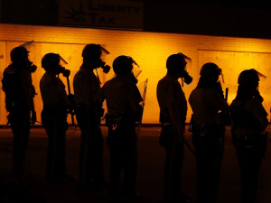 Silhouettes of Riot Police