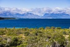 San Carlos de Bariloche, seen across Nahuel Huapi Lake (Lago Nahuel Huapi), Rio Negro Province, Patagonia, Argentina