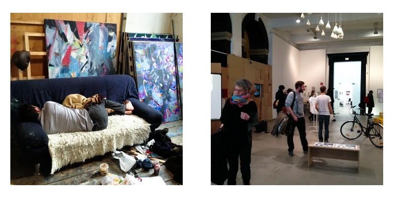 Студент мастерской Даниэля Рихтера на своем рабочем месте в Академии; Экспозиция класса перформативного искусства во время Rundgang 2013
