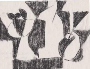 Натюрморт с яблоком. Дополнительная форма. Белые формы. 2002