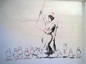 Иван Разумов. Revolution/Bis. Перформанс, фреска на стене, туш, цветная туш. 15 июля 2011 года