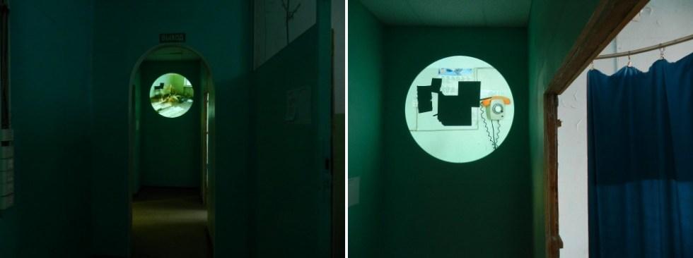 Вид видеоинсталляции на выставке «Сигнал». 2015