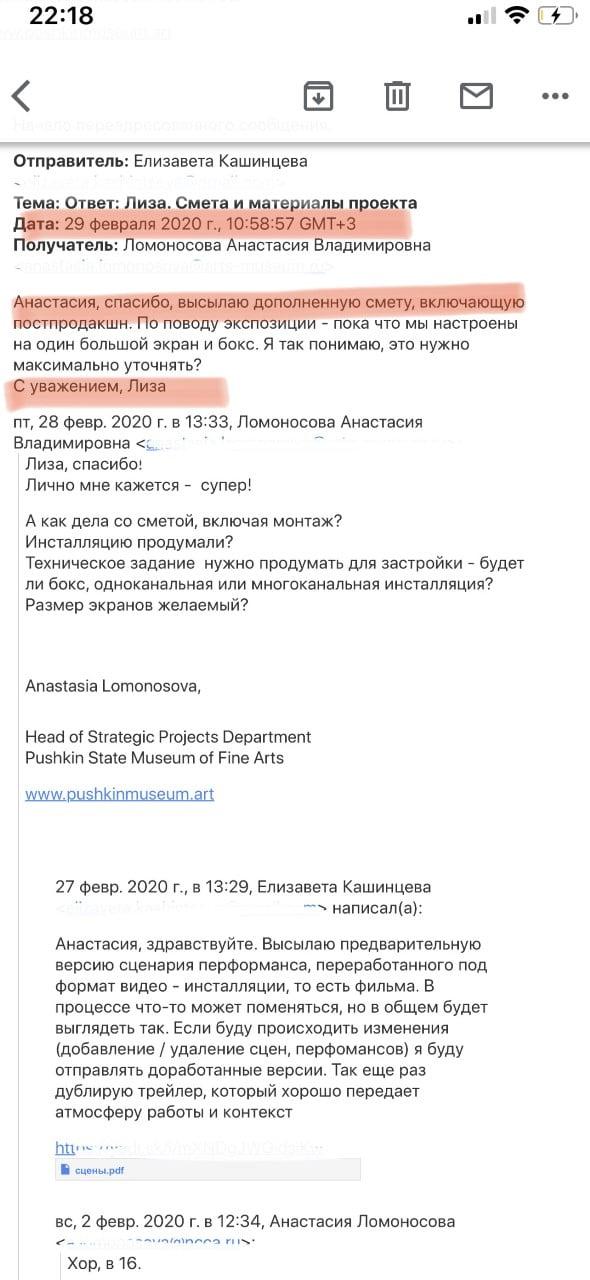 Снимки экрана корреспонденции художников Елизаветы Кашинцевой и Олега Устинова, сделанные исполнительным директором «Немосквы» Анастасией Ломоносовой.