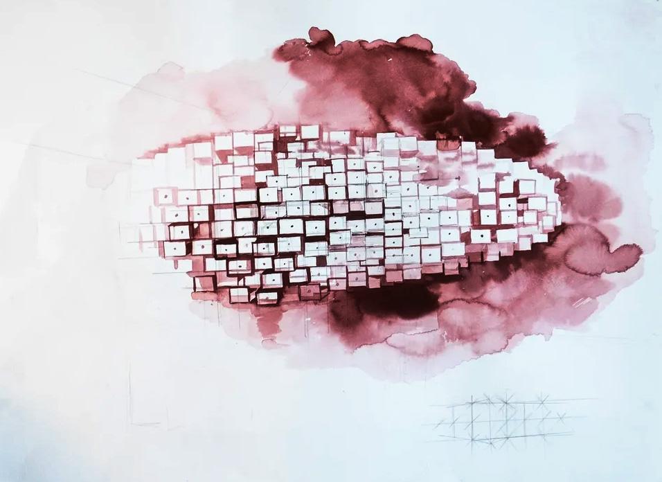 Александр Морозов, «Станция дистопия», 2020. Бумага, тушь. Эскиз инсталляции.