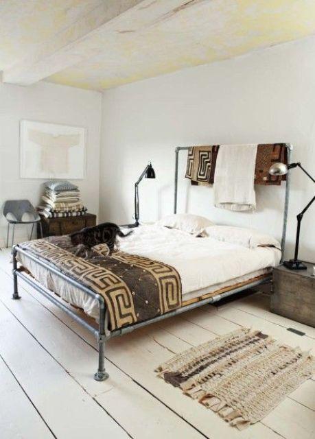 Tutti i segreti per una camera da letto in stile shabby - Camera industrial chic ...