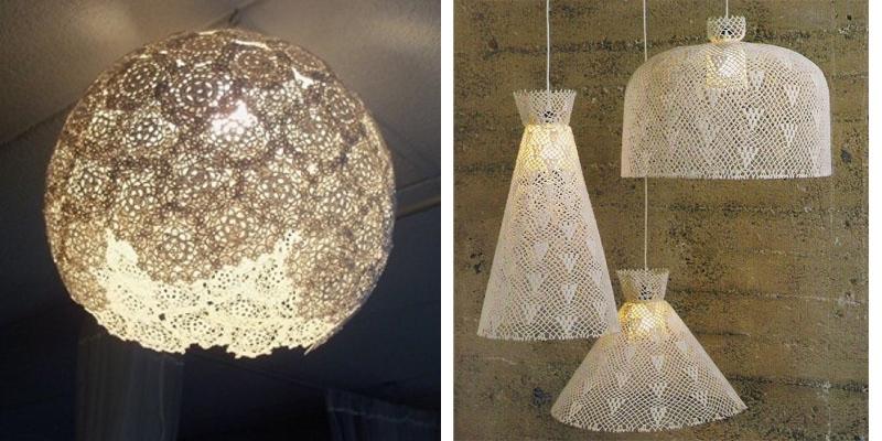 candele per lampadari : Lampada a cappello shabby: come realizzarla con centrini e un ...