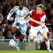 Bendtner scored his first competitive goal for Arsenal against Newcastle
