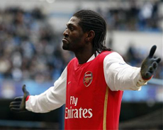 Adebayor celebrates the final goal