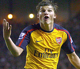 Arshavin celebrates his fourth goal
