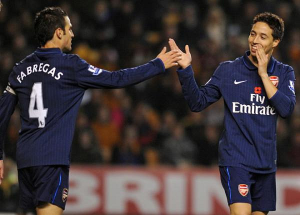 Cesc and Nasri share a laugh