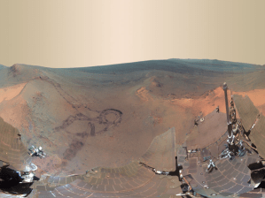 Mars, the northern slope of Greeley Haven, as seen by the Mars Opportunity rover.
