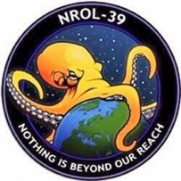 This is the real mission patch for a rocket carrying spy satellites heading into space today.