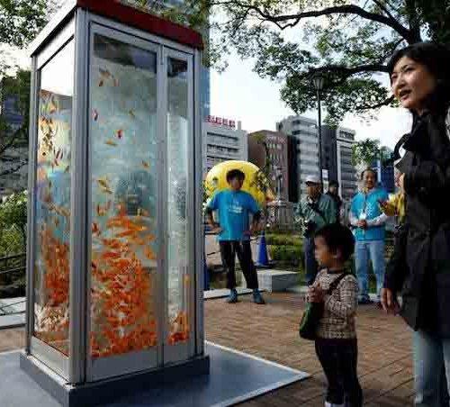 телефонные будки с рыбками в Японии-1