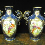 "A beautiful Pair of Mid 19th Century ""Worcester"" Porcelain Vases with Exotic Birds and Scale Blue Decoration, c. 1860"