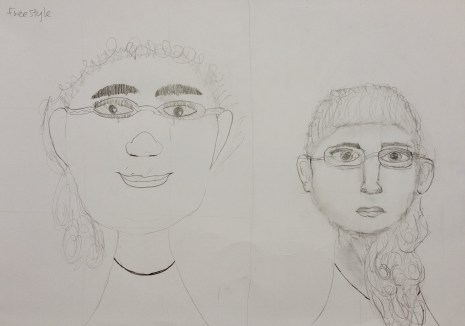 Left: Self portrait after learning how to Right: Self portrait before learning how to