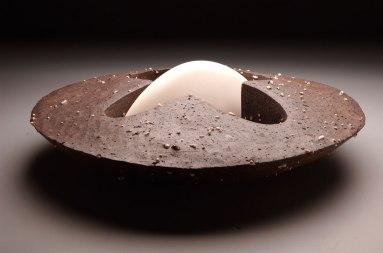 "10""x24""x24"", black clay, porcelain, 2011"