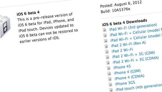 L'iOS 6.0 Bêta 4 est disponible pour les développeurs ! 1